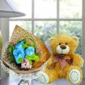 "8"" Bear with Blue Roses Hand Bouquet"