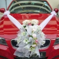 Red Wedding Car Artificial Flowers Decoration