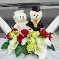 Wedding Car Artificial Flowers With Netting Decoration