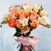 12 White Roses With Freesia Bouquet (3 Days Advance Order)