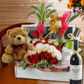 Flowers, Bear & Wines Basket Delivery