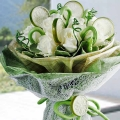 12 White Roses with Artificial Green Bean & Lemon Slice Hand Bouquet