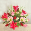 Red Lily and Pink roses centre-piece