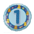 "Add-on Age 1 blue teddies 18"" helium balloon"