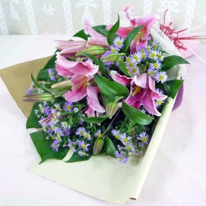 Pink Lily with purple pheonix Handbouquet