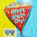 "Add-On 17"" Diamond-Shape Birthday Floating Bouquet Balloon"