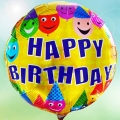 Add-On 18 Inch Helium Filled Round (HAPPY BIRTHDAY) Mylar Floating Balloon