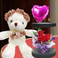 Flower Crown Bear With Heart-Shape Balloon & Red Roses In Box