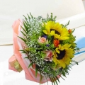 3 Sunflower With 10 Champagne Roses With Babybreath Hand Bouquet Delivery in Singapore