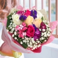 6 Mixed Roses Hand bouquet With Sweet William Flower