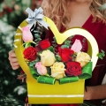 10 Mixed Roses Arrangement in Heart Shape Handle Flower Box