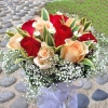 6 Red 6 Champagne Roses Handbouquet Wrap With Dracaena Foliage