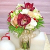 Red Cymbidium Orchid & Freesia Bouquet ( 3 Days Advance Order )